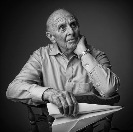 Black and White Portrait of Old Man with a Paper Plane © Paul Worpole Photography