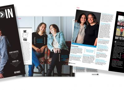 Magazine Featuring Two Women Laughing shot in Manchester for RBS magazine Internal Communications © Paul Worpole Photography