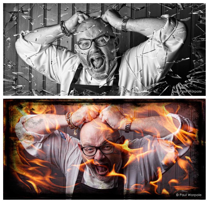 PR Concept Commercial Photography of Two similar shots of a Chef screaming Glass Breaking and Chef on Fire Screaming © Paul Worpole Photography