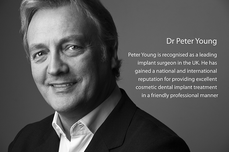 Black and white Photograph of Dr Peter Young Surgeon Dentist withText