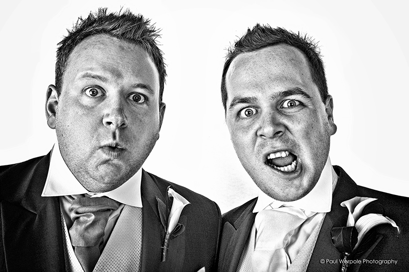 Black and White Photograph of Groom and Best Man