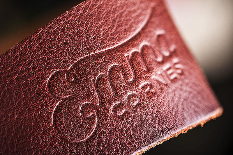 Close up embossed leather detail Emma Cornes