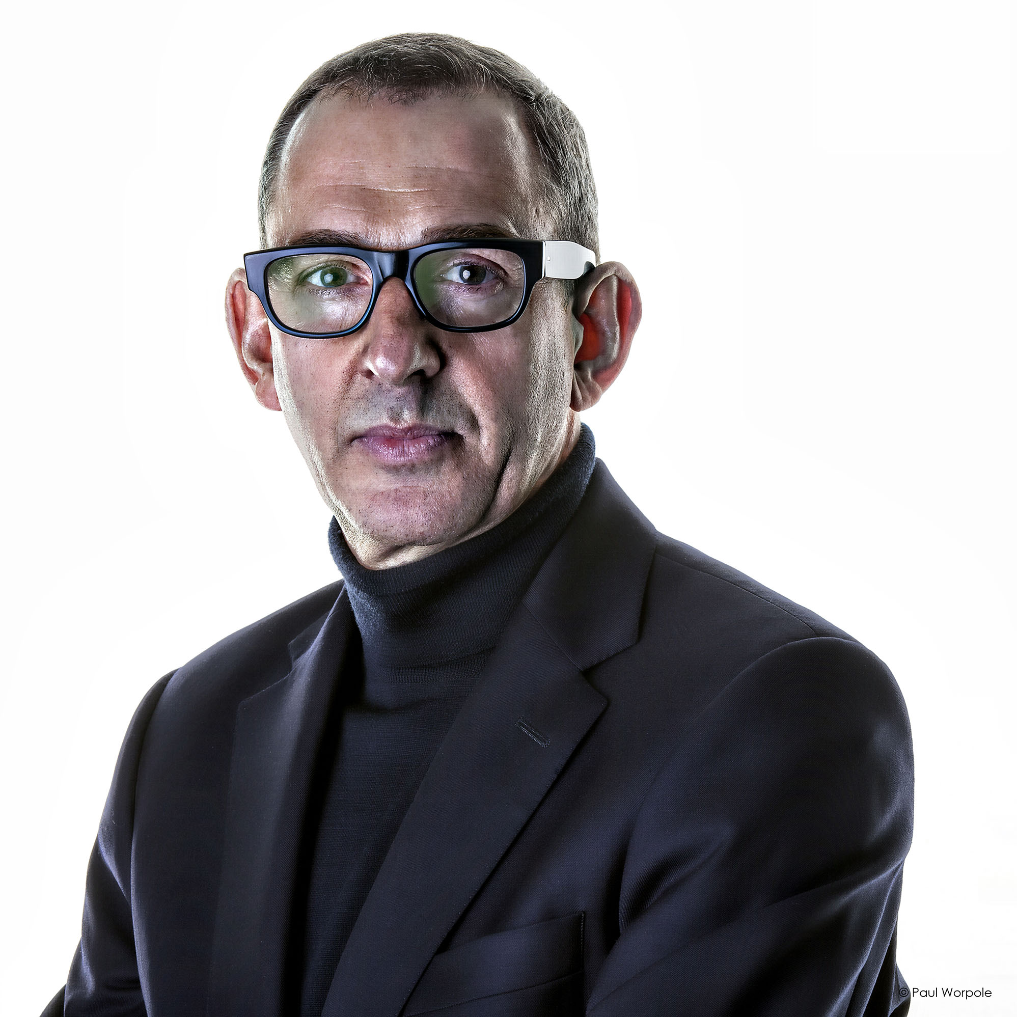 Business Photo Headshot of a Man with short Hair and Buddy Holly style glasses © Paul Worpole Photography