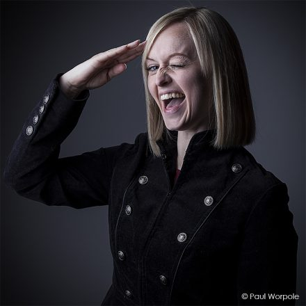Commercial Actor Headshot Portrait of Blonde Woman Saluting to the Camera © Paul Worpole Photography