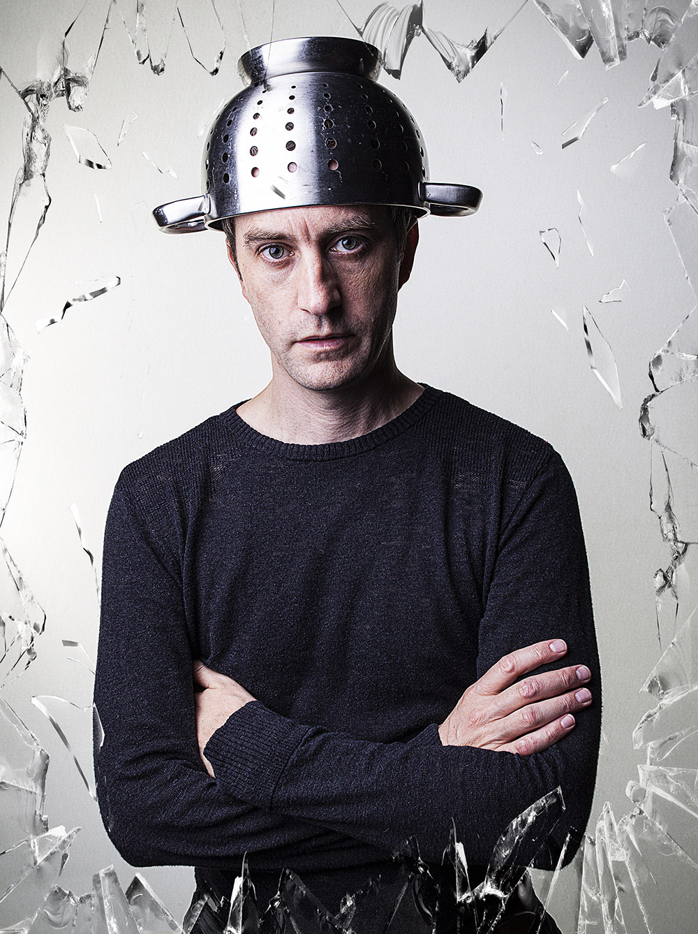 Actor Haedshot of Man with Colander on His Head and a Frame of Broken Glass © Paul Worpole Photography