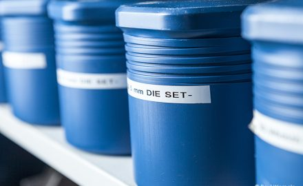 Industrial Photography Showing a Set of Blue Die Set Covers © Paul Worpole Photography
