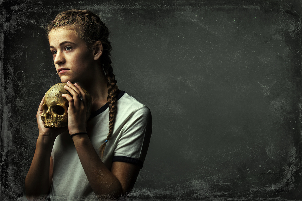 Young Girl Actor in a T shirt with a Skull© Paul Worpole