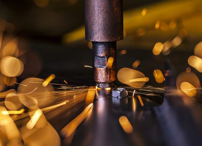 Industrial Photography showing a Spot Welder in Action © Paul Worpole Photography