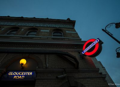 Commercial Photography Gloucester Rd Tube Station London with Underground Sign lit at Dusk © Paul Worpole Photography
