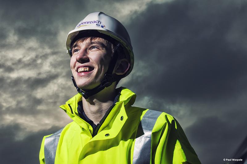 Technicians-Make-It-Happen-BT-Openreach-Technician-in-white-Builders-Helmet-Flourescent-Yellow-Jacket-Stormy-Clouds-©-Paul-Worpole-Photography.jpg