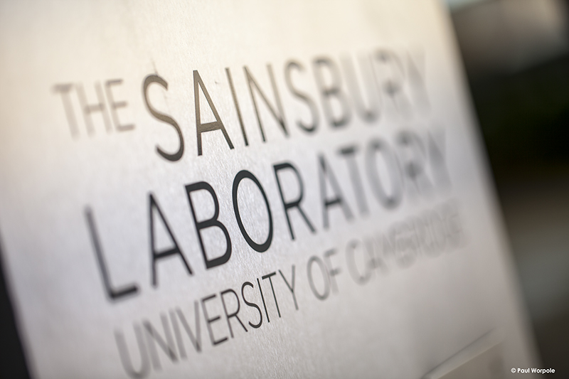 Technicians Make It Happen Brushed Stainless Steel Sign of Sainsbury Laboratory University Cambridge © Paul Worpole Photography