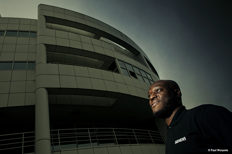Technicians Make It Happen Portrait Technician Man Outside Siemens Building © Paul Worpole Photography