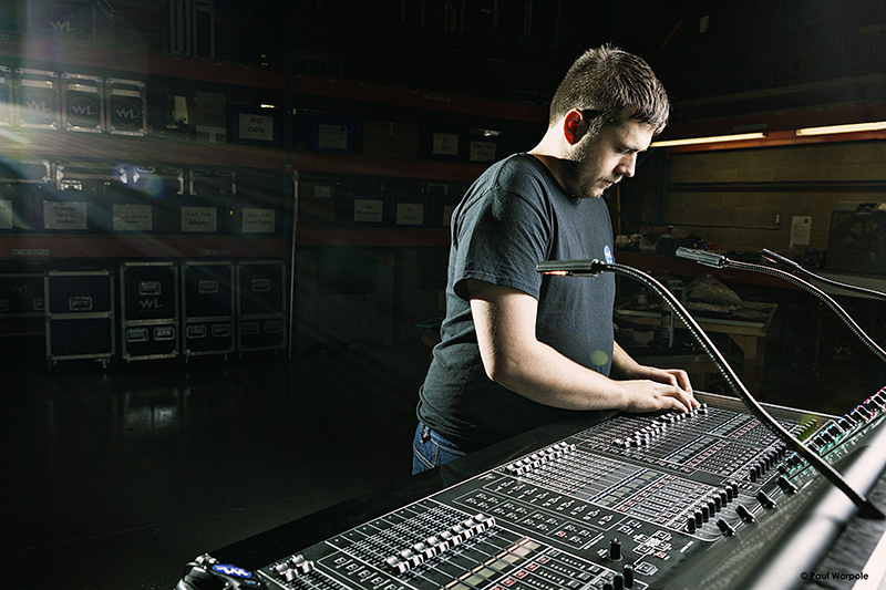 Technicians Make It Happen Portrait Technician at Light Mixing Desk White Lights Company London © Paul Worpole Photography