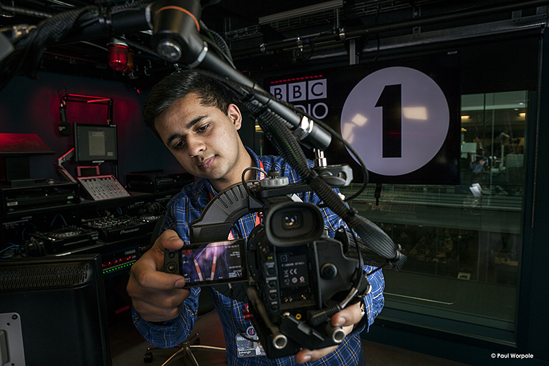 Technicians Make It Happen Portrait of BBC Technician Adjusting Camera in Radio 1 Studio London © Paul Worpole Photography
