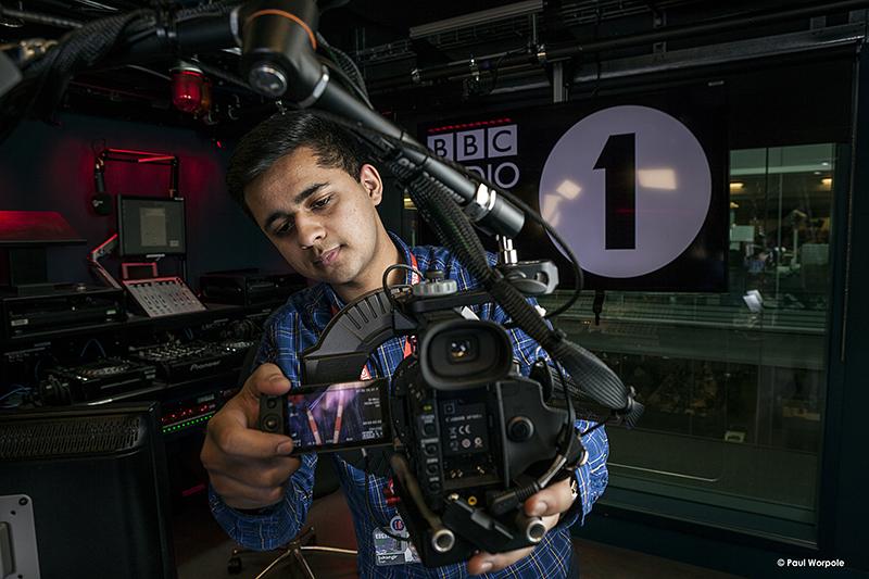 Technicians Make It Happen Portrait of BBC Technician Adjusting Camera in Radio 1 Studio London © Paul Worpole Photography
