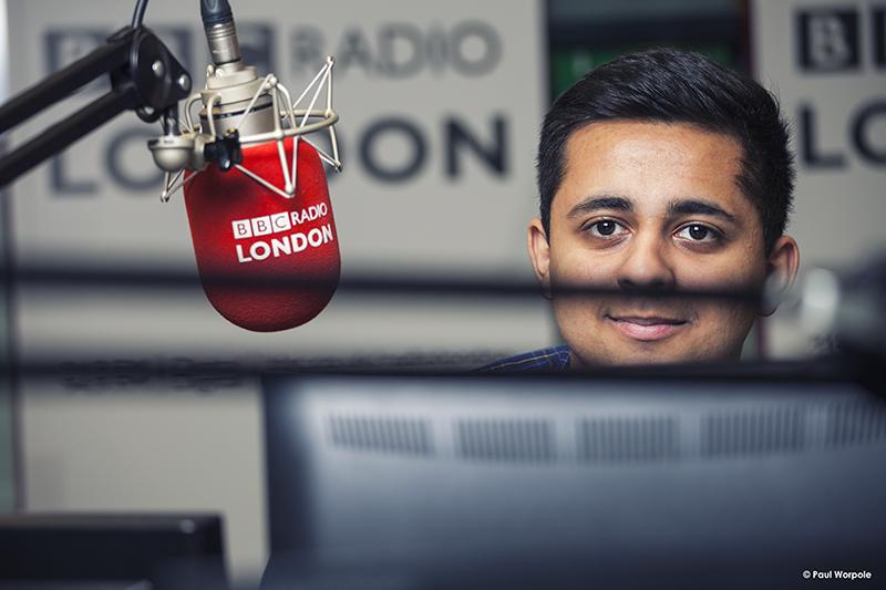 Technicians Make It Happen Portrait of BBC Technician Adjusting Mic in Radio London BBC Studios © Paul Worpole Photography