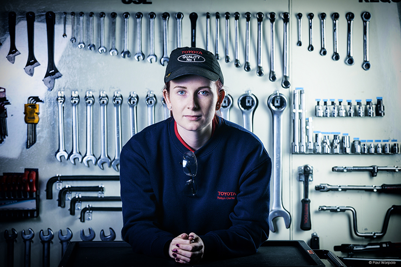 Technicians Make It Happen Woman Technician Responsible for Robot Assemby Repairs at Toyota Palnt North Wales with Sappners and Wrenches in Background © Paul Worpole Photography