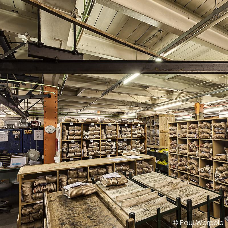 Crockett & Jones Northampton Shoemaker Basement View of Leather Shoe Liners Soles © Paul Worpole Photography