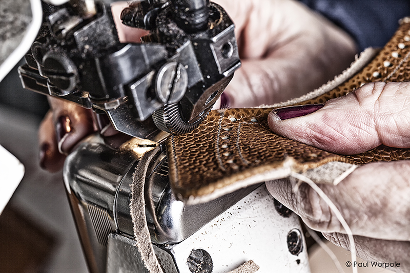 Crockett & Jones Shoemakers Northampton Close Up Detail of Skiver Process of Grained Leather Making Up Room © Paul Worpole Photography