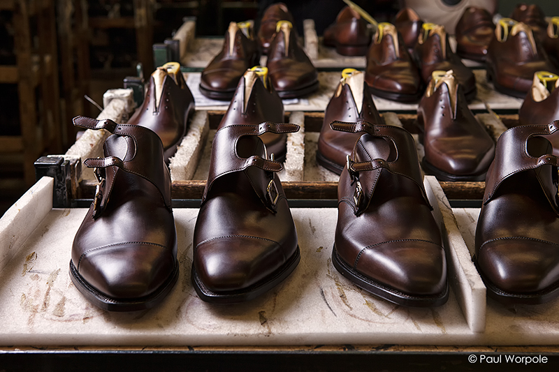 Crockett and Jones Shoemakers Northampton Rack of Dark Brown Monk Shoes Awaiting to Be Boxed © Paul Worpole Photography