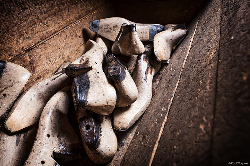 Crockett and Jones Shoemakers Northampton Wooden Shoe Lasts In A Cubby Box © Paul Worpole Photography