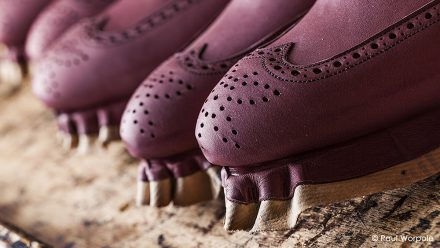 Crockett & Jones Shoemakers Northampton Close Up Detail of Brogue Design Stretched Over a Wooden Last © Paul Worpole Photography