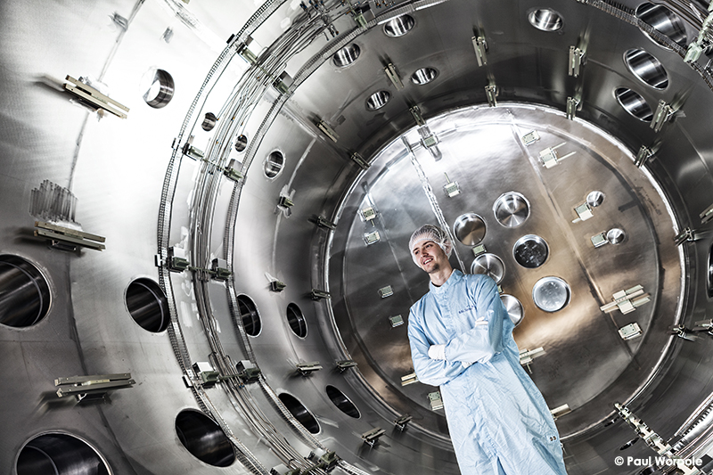 Technicians Make It Happen RAL Space Technician Working In sealed Stanless Steel Chamber © Paul Worpole Photography