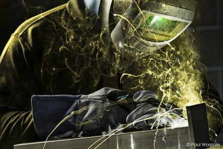 Welding Industrial Photography of Technician Welding Aluminium Sparks Flying © Paul Worpole Photography