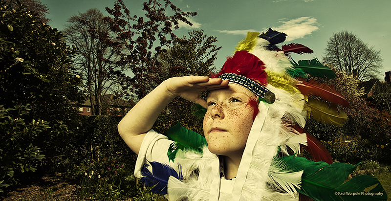 Advertising Photography Kid wearing Indian Headress © Paul Worpole Photography