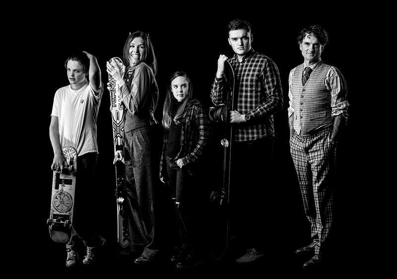 Portrait Photography of Family in Black and White on Black background © Paul Worpole Photography