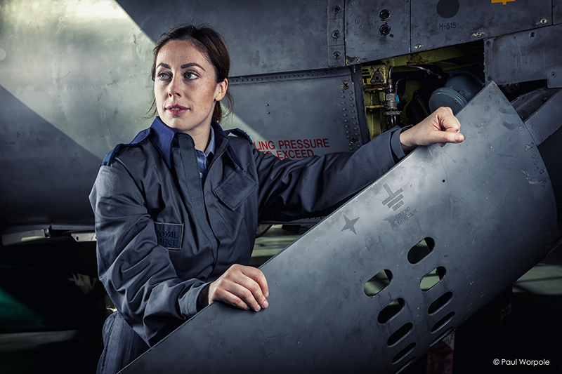 Advertising Photography RAF Cosford portrait of woman near Jaguar air brake