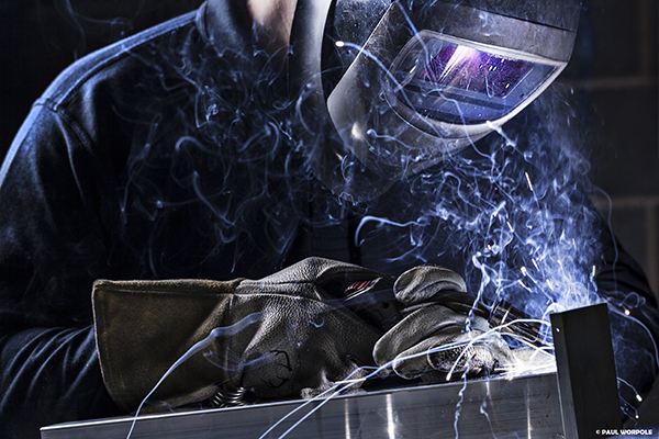 Welding Photography Industrial Close up shot of welder welding aluminium © Paul Worpole Photography