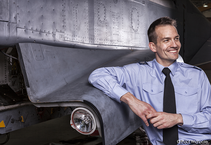 Commercial Portrait of RAF Technician Leaning Against Typhoon Jet Fighter Plane Smiling © Paul Worpole Photography