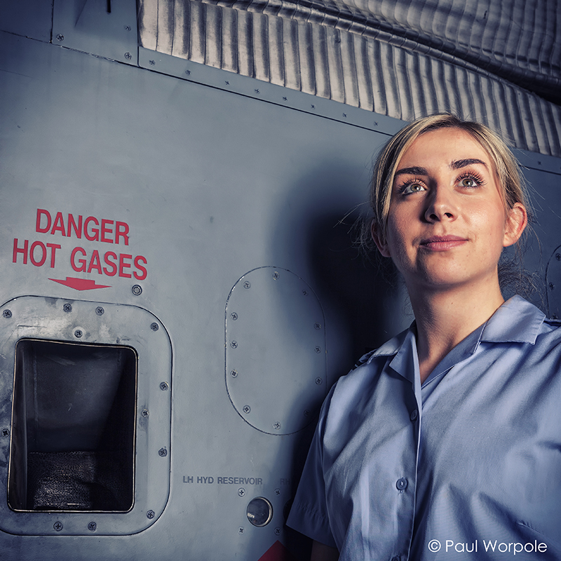 Commercial Portrait of RAF Technician Standing Against Jaguar Jet Fighter Plane © Paul Worpole Photography