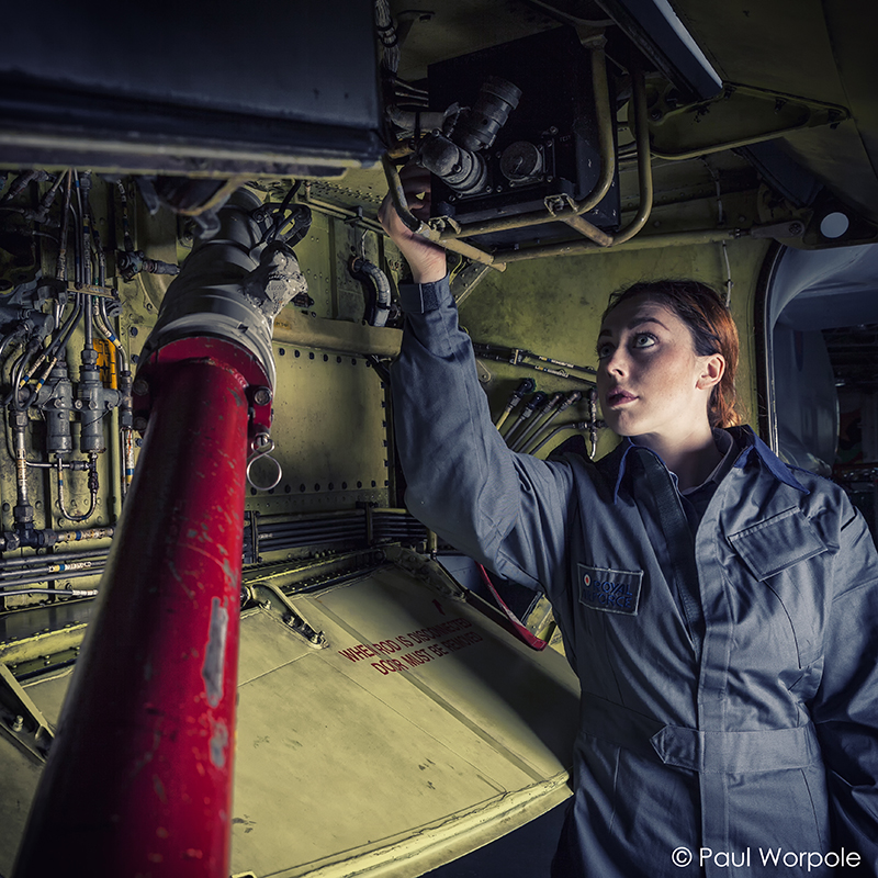 Commercial Portrait of RAF TechnicianAdjust Air Brakes on Jet Fighter Plane © Paul Worpole Photography