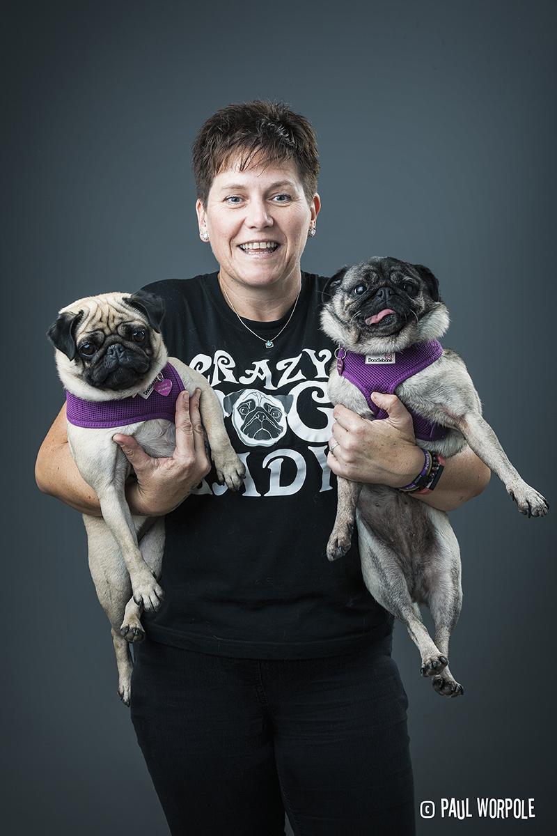 Crazy Pug Lady Portrait © Paul Worpole Photography