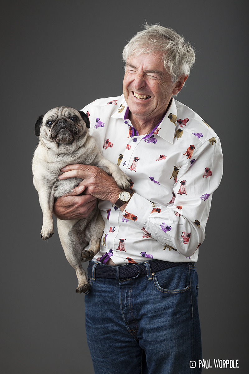 Man with Pug in a Pug Shirt © Paul Worpole Photography