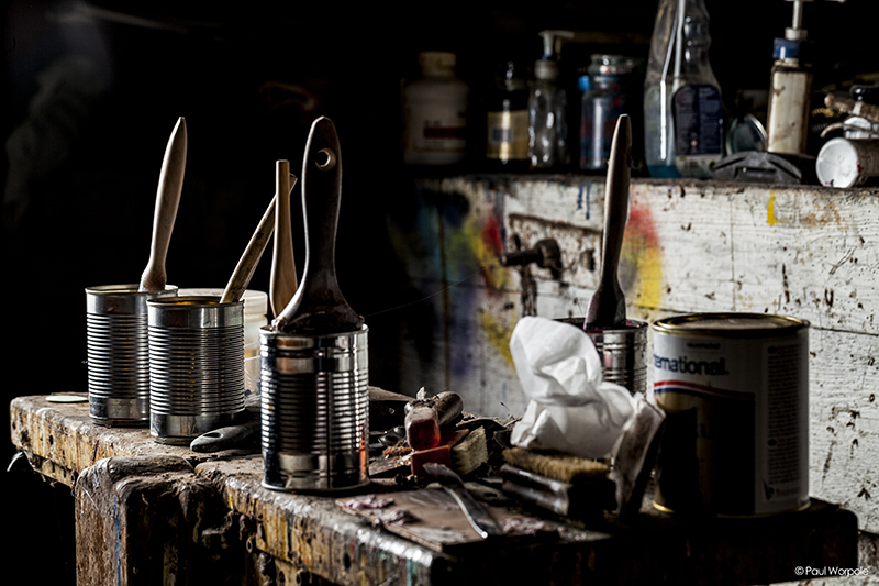 Boat Builder workshop image of tin cans with brushes in them © Paul Worpole Photography