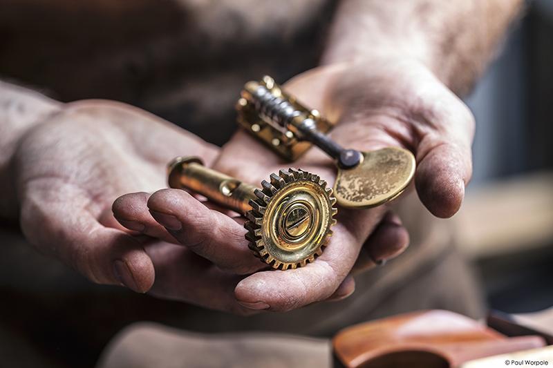 Close up shot of hands of Sam Wells Bas Maker © Paul Worpole Photography