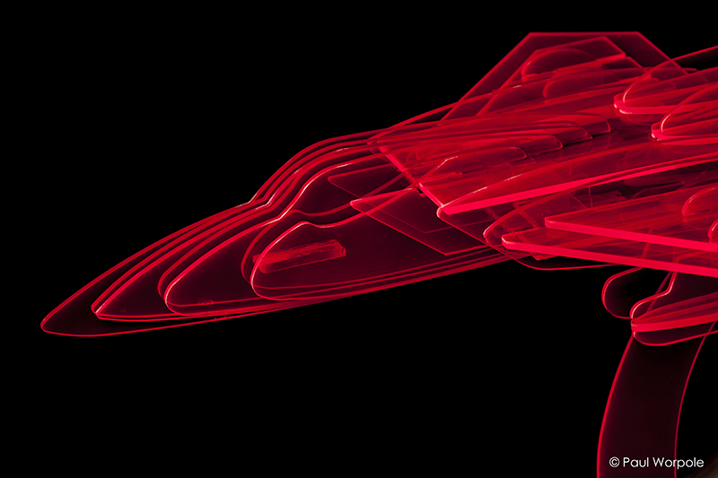 Fastrak Retail Display Showing Red Layers Perspex of Jet Fighter Close up © Paul Worpole Photography