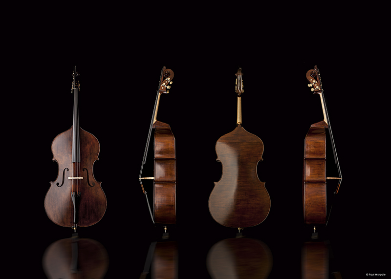 Close Up Product Photography Four Double Bass's Black Background © Paul Worpole Photography