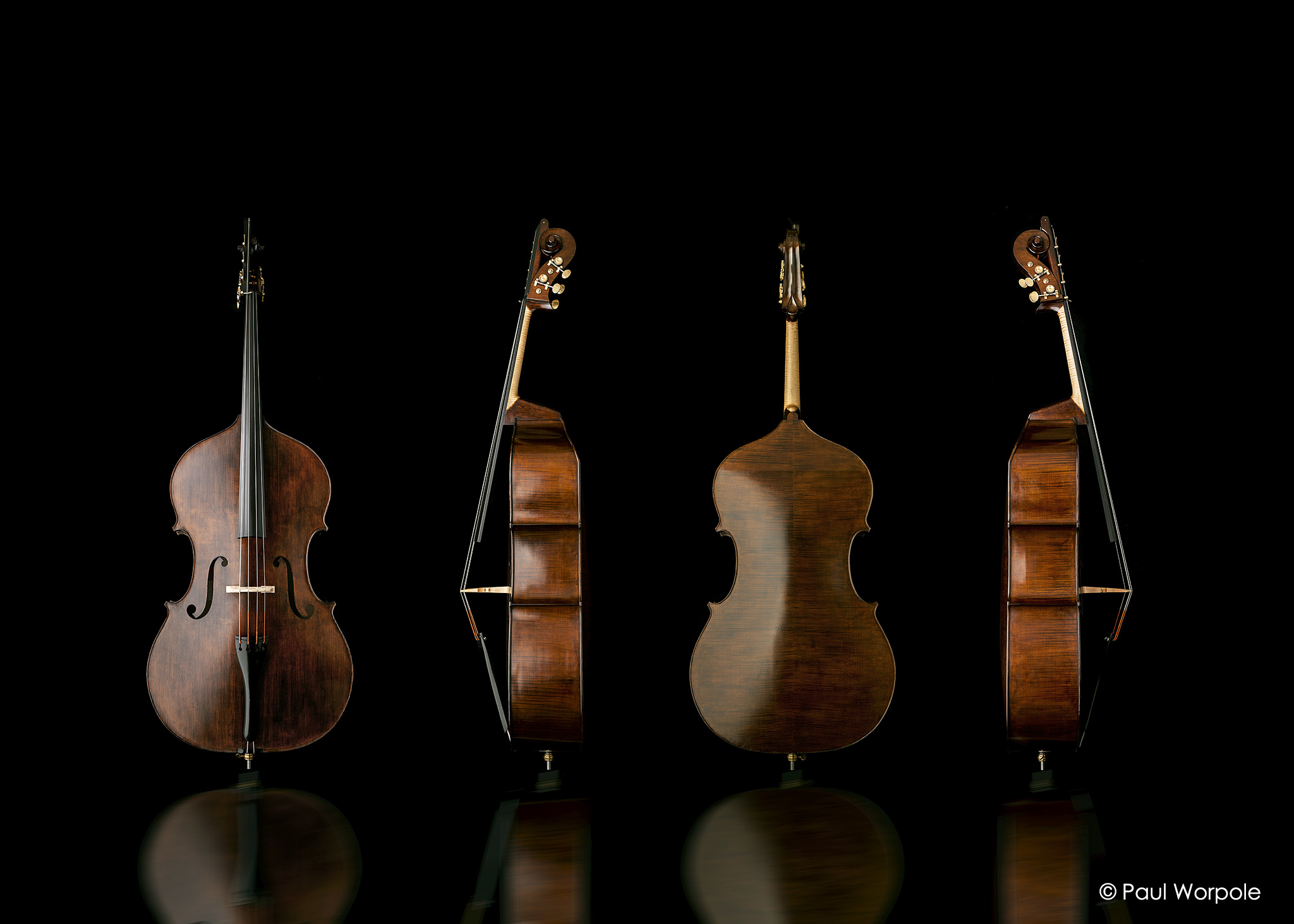 Brochure photography of double bass on black background with reflection © Paul Worpole Photography