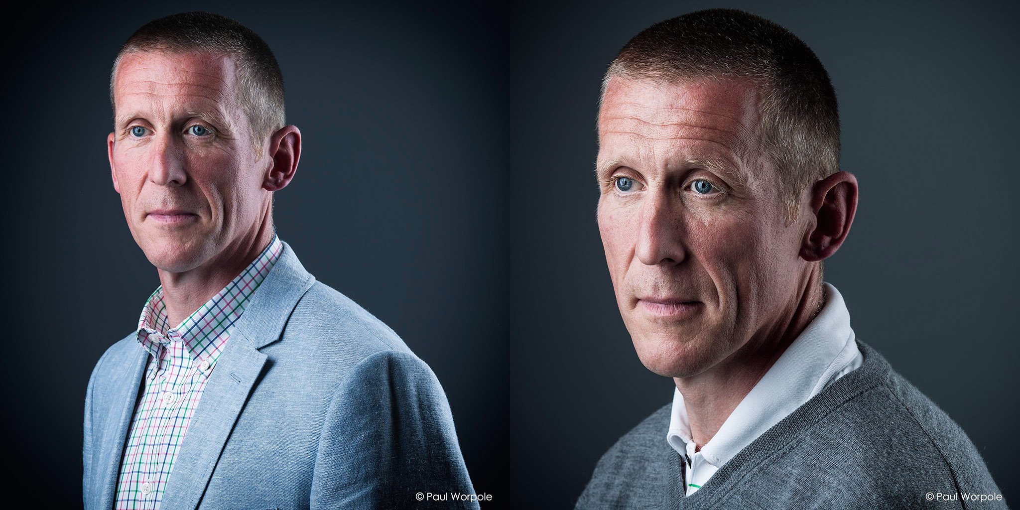 Two Portraits of Man with Crew Cut in Black and White © Paul Worpole Photography