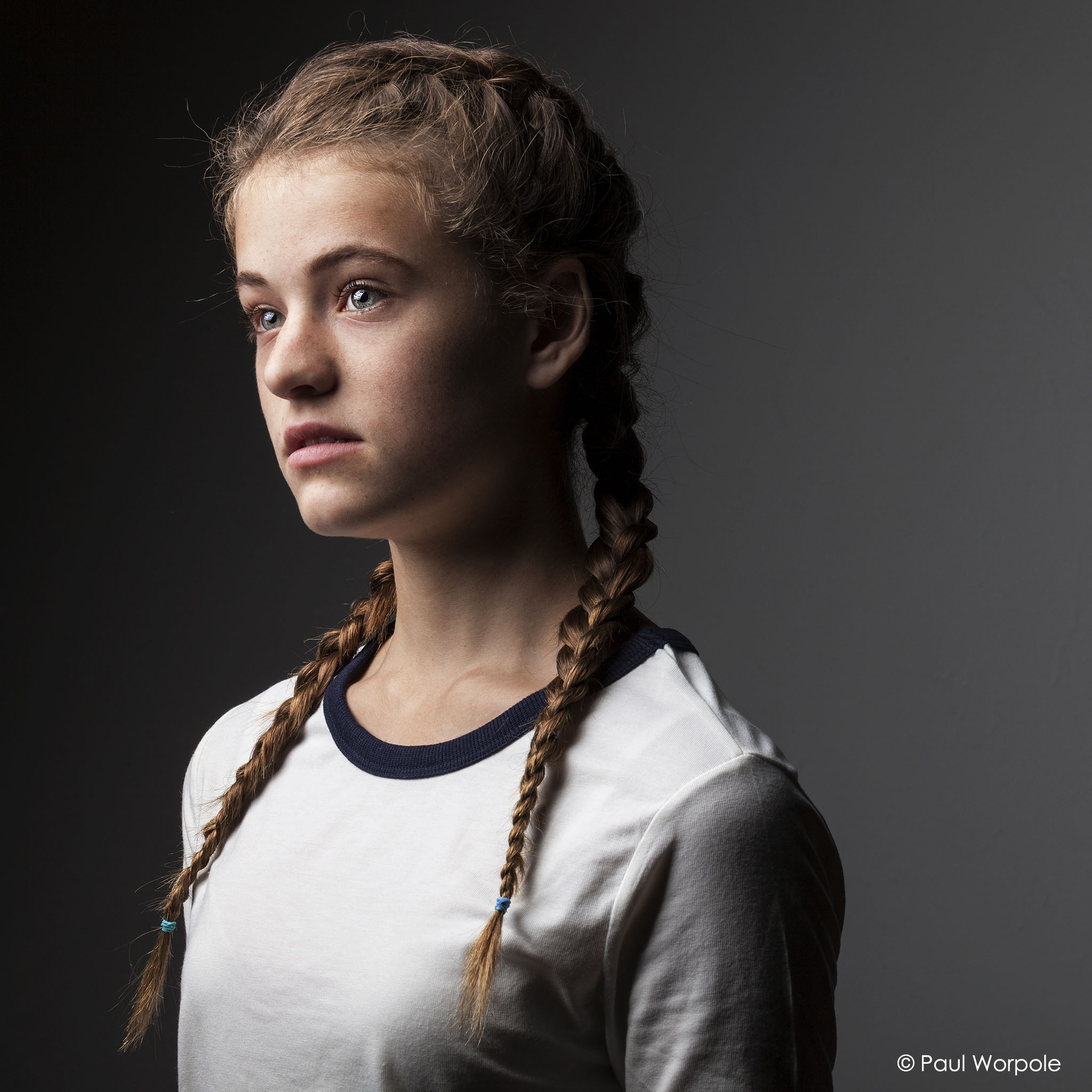 Portrait Photography of girl with pigtails in white t shirt © Paul Worpole Photography