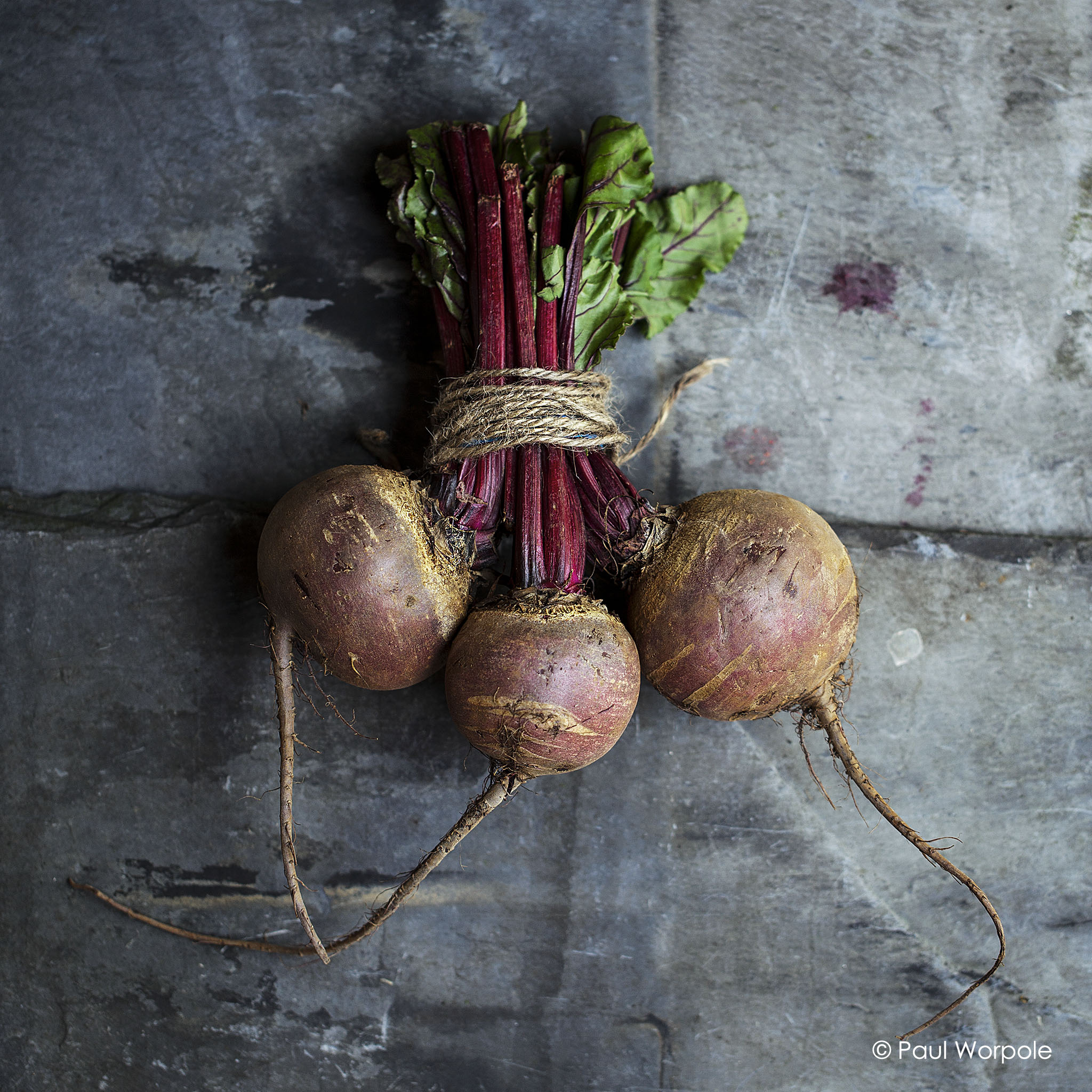 Commercial photography of three beetroots tied with brown twine on slate background © Paul Worpole Photography
