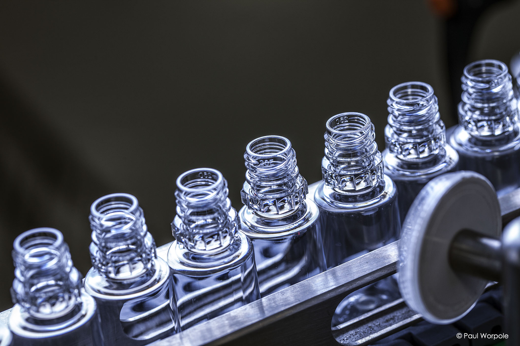 Industrial photography close up shot of glass vials © Paul Worpole Photography