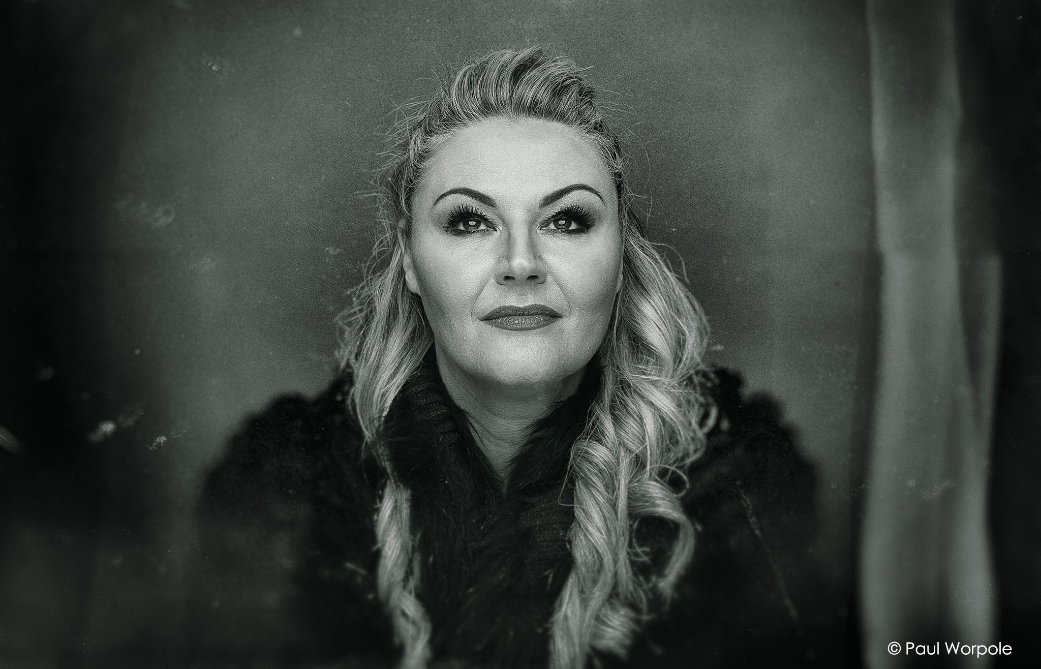 Portrait Photography of woman with old fashioned tin type black and white filter applied © Paul Worpole Photography