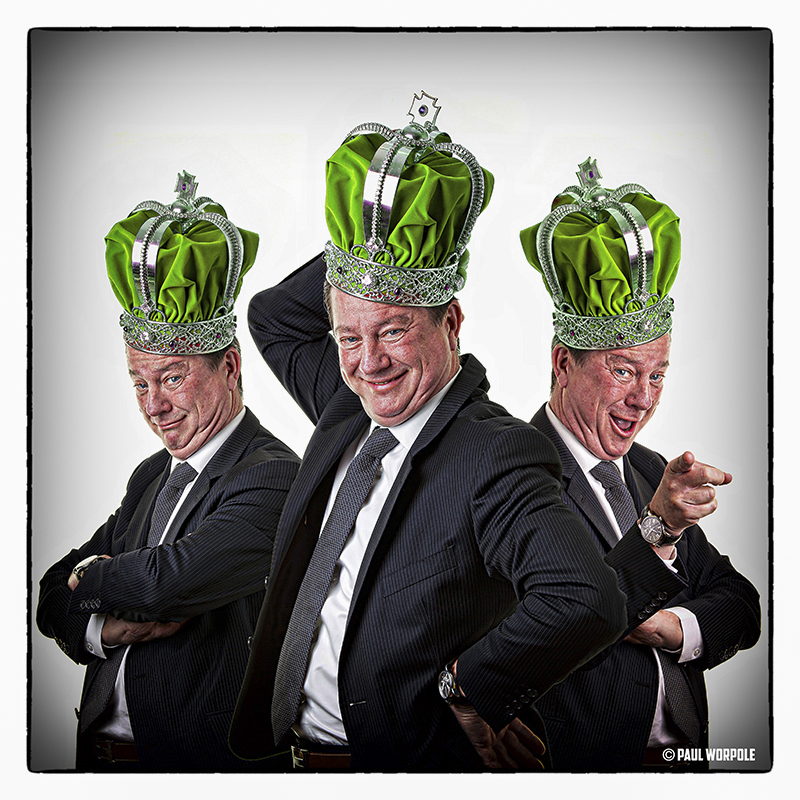 Staff Headshot Portraits of three individual portraits of a man with a green crown on © Paul Worpole Photography