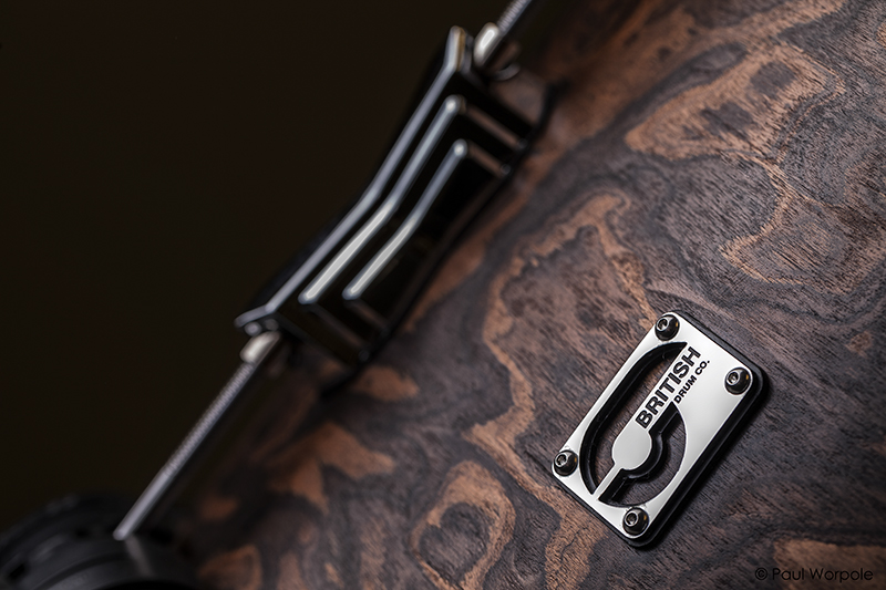 Close Up Detail Shot of Logo Badge on Wooden Drum Shell at British Drum Co © Paul Worpole Photography