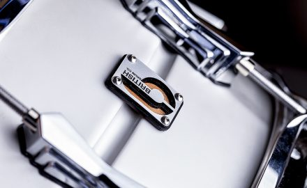 Close up detail of Logo Metal Snare Drum Shell at British Drum Co © Paul Worpole Photography